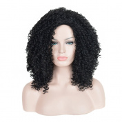 SiYi Short Afro Curly Wig Black Kinky Synthetic Wigs Heat Resistant Full Wig for Black Women