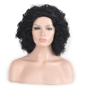 SiYi Short Curly Wigs for Black Women Afro Kinky Synthetic Heat Resistant Full Wigs Black