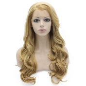 Long Wavy Ash Blonde Hand Tied Lace Front Synthetic Hair Wig