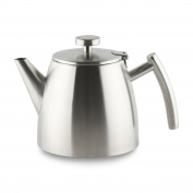 Café Ole Stainless Steel Double Wall Tea Pot with Hinged Lid, Satin, 1.2L1180ml, Satin Finish