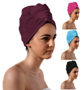 TowelsRus Spa Days Luxury Turban Hair Towel, Aubergine Absorbent, Lightweight and Cotton