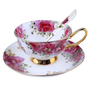 Touch Life Bone China Ceramic Tea Cup Coffee Cup Set Coffee Cup with Saucer,Red Rose ,White and Red