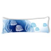 Ailovyo Fish Silky Soft Satin Pregnancy Body Pillow Cover Pillowcase, 50cm x 140cm