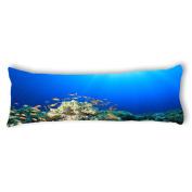 Ailovyo Underwater World Silky Soft Satin Pregnancy Body Pillow Cover Pillowcase, 50cm x 140cm