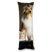 Ailovyo Dog and Cat Silky Soft Satin Pregnancy Body Pillow Cover Pillowcase, 50cm x 140cm