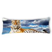 Ailovyo Tiger Silky Soft Satin Pregnancy Body Pillow Cover Pillowcase, 50cm x 140cm