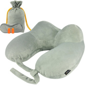 Travel Pillow,MORECOO Mother's Day Gifts Inflatable Neck Pillow Portable Travel Set U Shape Air Pillow with Ear Plugs, Eye Mask and Drawstring Bag,Head, Super Soft , Chin and Neck Support