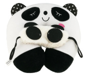 Cartoon Cute Black and White Panda Blindfold and Panda U-shaped Pillow Set For Sleep Bed Trip Car Plane Decoration Gift