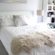 "genuine beige cream Tibetan Mongolian Sheepskin lambskin bed scarf runner throw 24x71"" / 60x180cm single double queen bed"