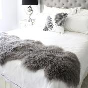 "genuine grey Tibetan Mongolian Sheepskin lambskin bed scarf runner throw 24x71"" / 60x180cm single double queen bed"