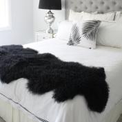 "genuine black Tibetan Mongolian Sheepskin lambskin bed scarf runner throw 24x71"" / 60x180cm single double queen bed"