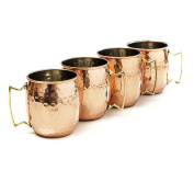 Moscow Mule Hammered Copper 530ml Drinking Mug, Set of 4