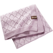 Baby Knitted Comfort Blanket 100% Organic Cotton, GOTS Certified, 80 x 100 cm with Gift Box