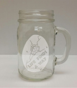 Life Finds A Way Dino Lover 470ml Glass Mason Jar - Hand Etched - Made in the USA, Great for gifts