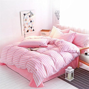 Korean Version Of The Style Of Bedding Four Sets Of Skin-Friendly Cotton Simple Striped Bed Sheets Quilt Students Dormitory Sanding , 3 , 180*220
