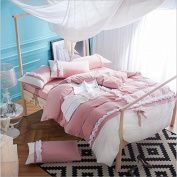 Korean Version Of The Bedding Four Sets Of Plain Water Washed Cotton Pure Colour Simple Princess Bow , 2 , 220*240
