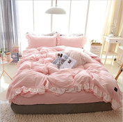 Nordic Style Bedding 3D Four Sets Of Washed Cotton Pure Colour Simple Lace Lace Quilt Cover (For 1.2M-1.8M Bed) , 3 , 200*230