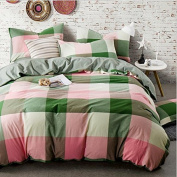 Japanese Style Bedding 3D Four-Piece Dyed Washed Cotton Plaid Wind Colour Double-Colour Stripes (For 1.5M-2M Bed) , 5 , 220*240