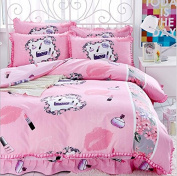 Korean Style Bedding 3D Four Sets Of Tribute Cotton Lace Bed Skirt Princess Models (For 1.5M - 1.8M Bed) , 2 , 200*230