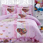 Korean Style Bedding 3D Four Sets Of Tribute Cotton Lace Bed Skirt Princess Models (For 1.5M - 1.8M Bed) , 5 , 200*230