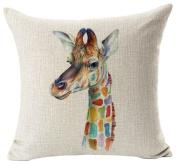 MA-on Cute Cartoon Linen Print Animal Home Sofa Decor Pillow Cushion Case