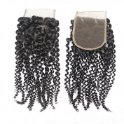 Forawme Womem's 25cm Free Part Top Closure Hair 1B Kinky Curly Wave Human Hair Lace Closure