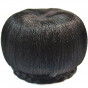 DENIYA Black Synthetic Hairpieces Braided Hair Bun Hair Extensions Clip in