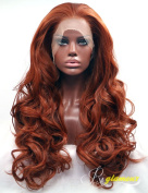 Riglamour Deep Copper Red Lace Front Wig Long Wavy Fibre Hair Synthetic Wigs for Women