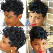 5I Short Curly Wigs for Black Women Synthetic Heat Resistant Hair Perfect for Daily Wear with Wig Cap (Black) 150g Z061