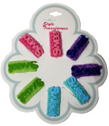 4 PAIR OF ASSORTED colour BABY BARRETTES WITH THE WORD SWEET