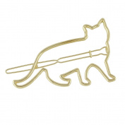 Feelontop New Design Simple Hair Jewellery Gold Silver Plated Metal Cat Shape Hair Clips for Girls with Jewellery Pouch
