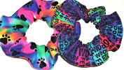 Dog Paw Prints Words Hair Scrunchies Set of 2 Ponytail Holders Rainbow Blue handmade by Scrunchies by Sherry