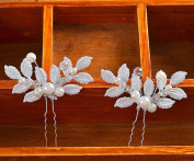 Various Beautiful Designs of Pearl/Crystals and Rhinestone Flower Hair Pins for Bridesmaids/Prom/Sweet Sixteen/Quinceanera/Weddings - Sold in sets.