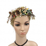 Meiliy Unique Design Headband Crown Flower Wreath Garland with Pine Cones and a Bird for Wedding Festivals