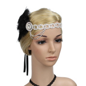 Meiliy Women's Roaring 1920s Bling Crystal Gatsby Headpiece Flapper Headband with Feather, Black