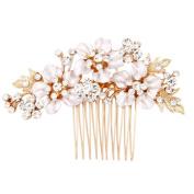 Fairy Moda Gold Flower Bridal Hair Comb Wedding Hair Accessories