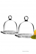 Set 2 Glass Round Individual Serving Domed Covered Butter Dish with Finial Top