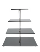SinoAcrylic 4-Tier Square Elegant Black Stacked Party Cupcake Stand with Stable Screw - Cake Display Holder / Cupcake Tree / Tiered Cupcake Tower