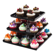 SinoAcrylic Strong Sturdy Acrylic 3-Tier Square Cupcake Stand with Borders and Stable Screw - On Elegant Black Plate - Dessert Display Tower - Cupcake Tower
