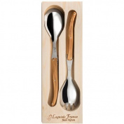 Neron Coutellerie Laguiole Salad Server With Olive Wood Handle In Wooden Box, Silver