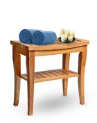 House Ur Home 100% Deluxe Bamboo Shower Seat Bench Spa Bath Organiser With Storage Shelf