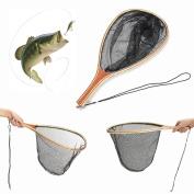 Fly Fishing Landing Nylon Net Mesh Catch Release Net Wooden Handle