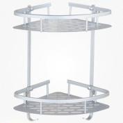 Adhesive 2-Tier Corner Bathroom Shelf, Homeself Aluminium Shower Storage Towel Bar Basket , Shelf Rack Organiser with Hooks
