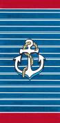 Anchor & Stripes Brazilian Velour Beach Towel 80cm x 150cm