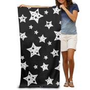 Macevoy Black And White Star Adult Beautiful Super Absorbent Beach Towel On The Beach 80cm130cm