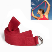 Yoga Stretch Cotton Band Strap for Home, Workout, Sports, Fitness with D-ring Buckle