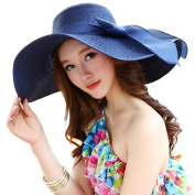 1 Pcs Fashion Bowknot Ladies Woman Hand-Woven Wide Large Brim Swimming Summer Garden Beach Straw Sun Hat Cap Headgear Topee Sunbonnet for Holiday Travelling Blue