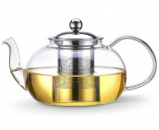 Bekith 1180ml Glass Teapot with Removable Infuser - Tea Pot and Tea Strainer Set - Holds 3-5 Cups