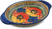 Polish Pottery Platter with Handles 23cm Bright Beauty UNIKAT