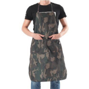 Hense Camouflage Big-sized Stylish Durable Coffee/Chef/Shop Bib Apron with Two Pockets / Pen Holder, Adjustable Waist Ties Kitchen Cooking Apron for Unisex Women/Men HSW056